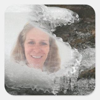 Cadre de photo de glaçons de rivière sticker carré