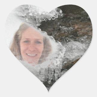 Cadre de photo de glaçons de rivière sticker cœur