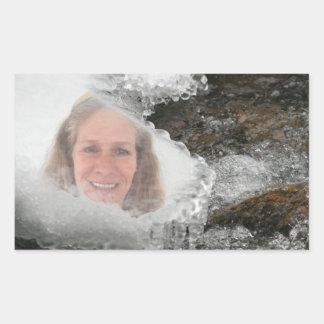 Cadre de photo de glaçons de rivière sticker rectangulaire