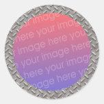 cadre de photo de plat de diamant autocollant rond