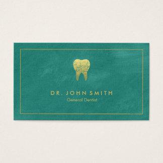 Cadre de toile de turquoise et dent d'or - cartes de visite