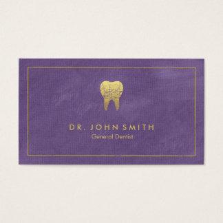 Cadre de toile pourpre et dent d'or - dentiste cartes de visite