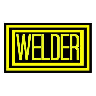 Cadre emmêlé noir et jaune de soudeuse carte de visite standard