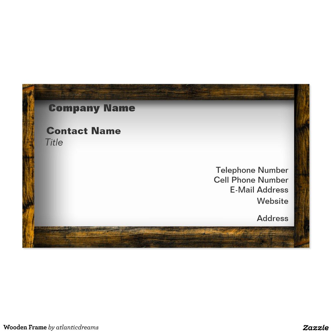 cadre en bois carte de visite standard zazzle. Black Bedroom Furniture Sets. Home Design Ideas