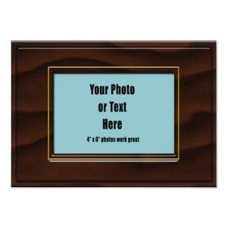 Cadre en bois foncé d'acajou personnalisable carton d'invitation  12,7 cm x 17,78 cm