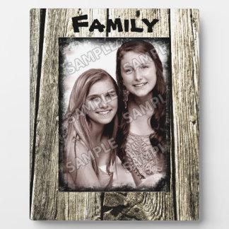 Cadre en bois rustique votre photo et texte de plaque photo