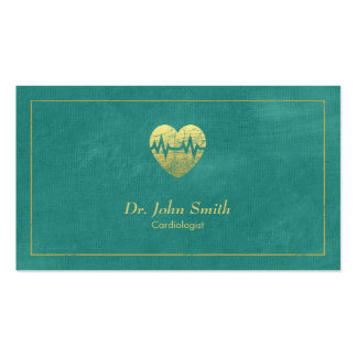 Cadre et coeur d'or de toile de turquoise de carte de visite standard