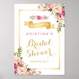 Cadre floral chic élégant d'or de signe nuptiale posters