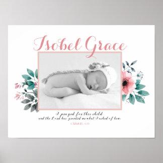 Cadre floral de photo de bébé avec le vers de poster