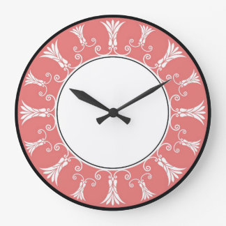 Cadre floral décoratif - corail grande horloge ronde