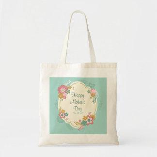 Cadre floral heureux du jour de mère sacs fourre-tout
