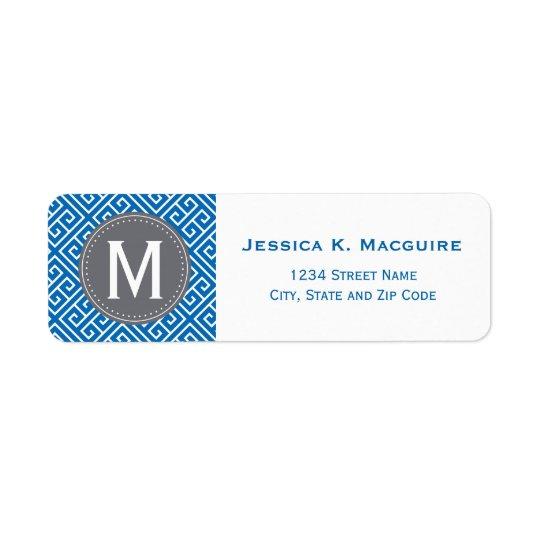 Cadre gris grec bleu de monogramme de motif princi étiquettes d'adresse retour