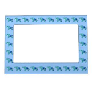 Cadre Magnétique Éléphant de henné (bleu/bleu-clair)