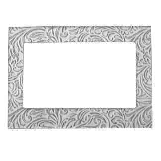 Cadre Magnétique Graphique floral vintage monochrome gris de