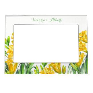Cadre Magnétique Illustration florale de Lillies de jour jaune fait