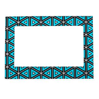 Cadre Magnétique Jolis blanc, noir et motif carrés de turquoise