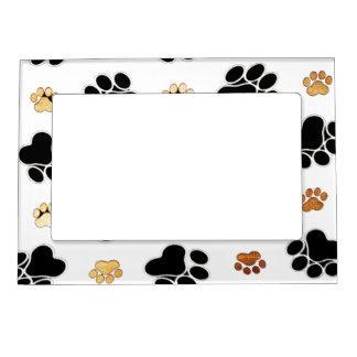 Cadre Magnétique Noir et blanc canin bronzage d'empreinte de patte