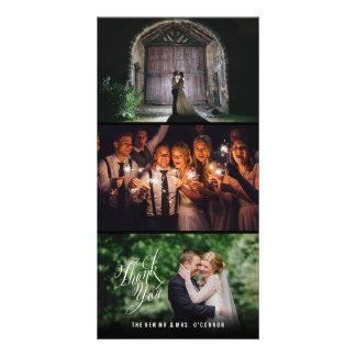 Cadre noir de mariage de cartes photos verticaux
