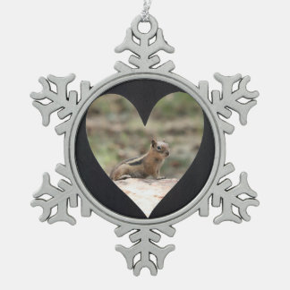 Cadre noir de photo de coeur ornement flocon de neige pewter