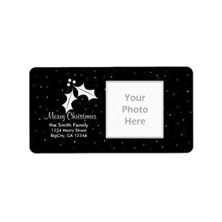 Cadre noir et blanc de photo de Noël Étiquette D'adresse