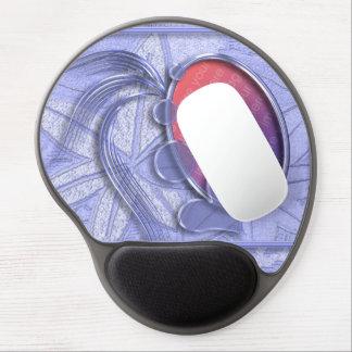 Cadre ovale de photo de coeur graphique bleu de bi tapis de souris avec gel