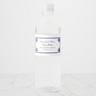 Cadre principal grec chic de noeud de bleu marine étiquette pour bouteilles d'eau