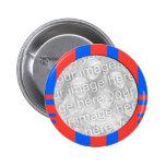 cadre rayé bleu et rouge de photo badges avec agrafe