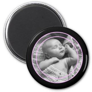 Cadre rose et noir de photo magnet rond 8 cm