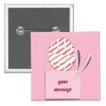 Cadre rose ovale avec le cadre de photo d'étiquett badge avec épingle
