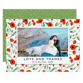 Cadre rouge de pavot - Merci de photo de mariage Carton D'invitation 12,7 Cm X 17,78 Cm