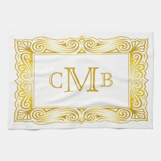 Cadre traditionnel décoratif de monogramme serviette pour les mains