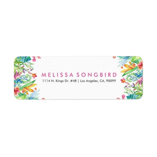 Cadre tropical coloré de fleurs étiquette d'adresse retour