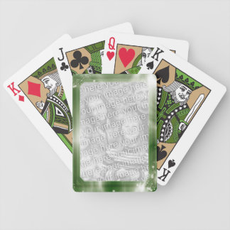 Cadre vert personnalisé de la photo | cartes à jouer