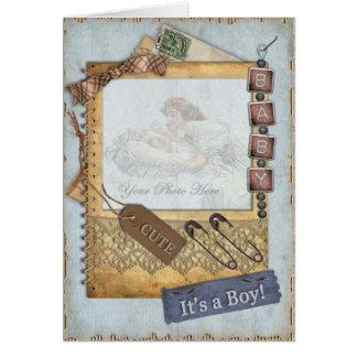Cadre vintage de photo de faire-part d'arrivée de carte de vœux