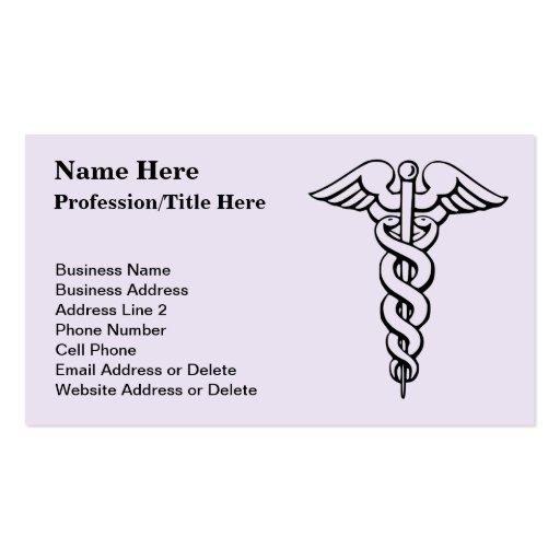 Caducée de symbole de corps médical carte de visite