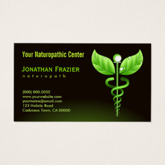 Caducée de vert de Naturopath de médecine douce Cartes De Visite