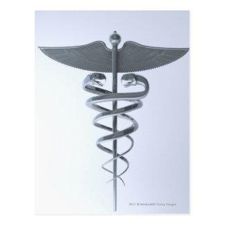 Caducée médical en métal carte postale