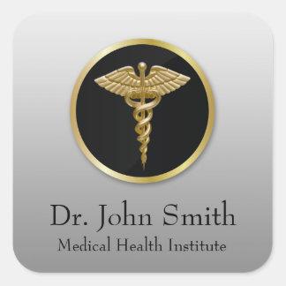 Caducée médical professionnel d'or - autocollant