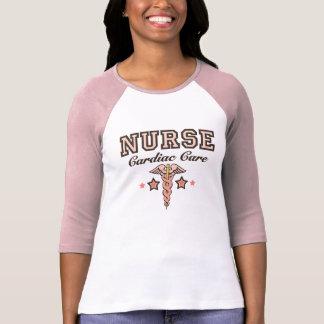 Caducée raglan du Jersey d'infirmière cardiaque de T-shirt