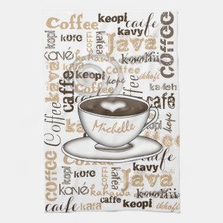 Café autour du nom du monde linges de cuisine