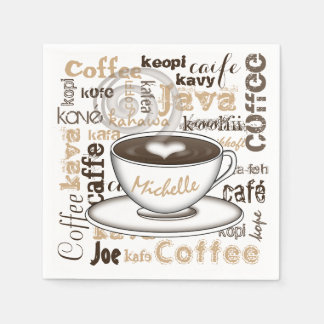 Café autour du nom du monde serviettes jetables