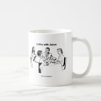Café avec la tasse de caractères de Jésus