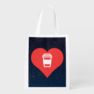Café chaud d'amour frais sac d'épicerie