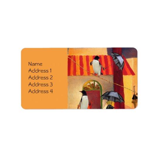 Café de pingouin étiquettes d'adresse