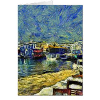 Café de port dans le KPA de Mykonos Grèce Carte De Vœux