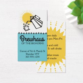 Café de versement de petit déjeuner de pot de café cartes de visite