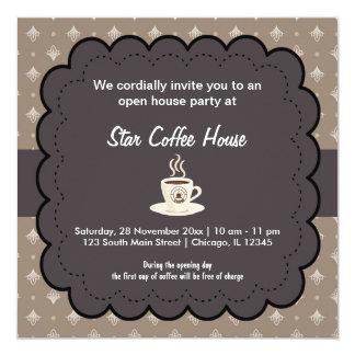 Café d'ouverture officielle carton d'invitation  13,33 cm