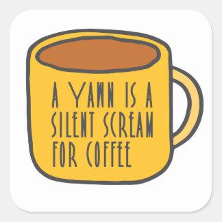 Café drôle sticker carré