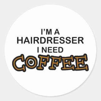 Café du besoin - coiffeur sticker rond