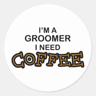 Café du besoin - Groomer Sticker Rond